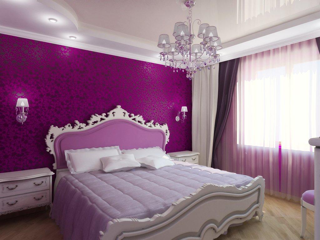 белый натяжной в спальне