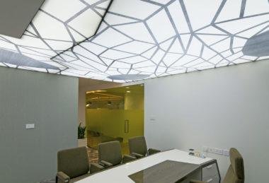 белый узорчатый потолок офис