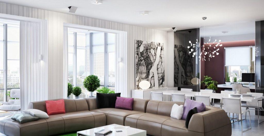 белый потолок гостиная натяжной