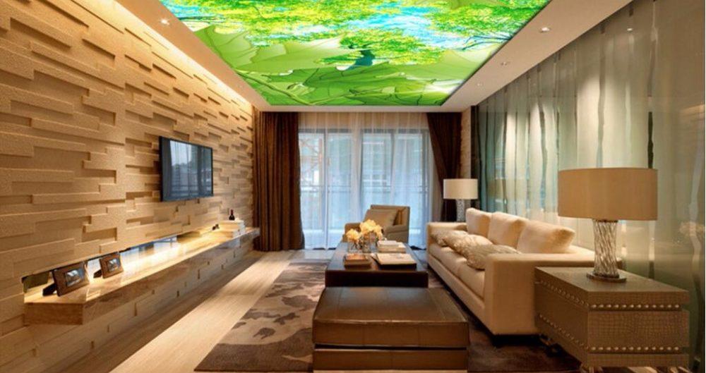 фотопечать листья гостиная с подсветкой