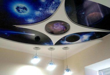 космос фотопечать многоуровневый потолок