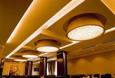 многоуровневые подсветка потолок полотно