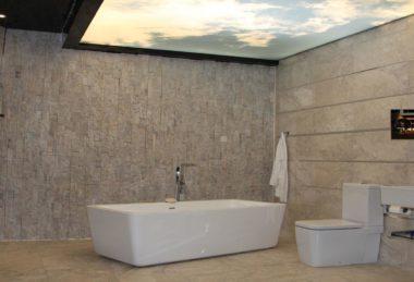 полупрозрачное полотно фотопечать ванная