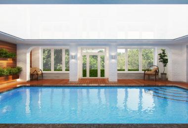 белый глянец бассейн потолок