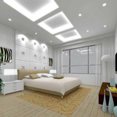 белый спальня потолок с подсветкой