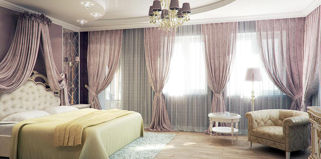 многоуровневый спальня потолок глянец