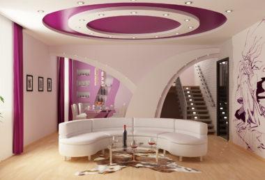 многоуровневый с подсветкой розовый потолок