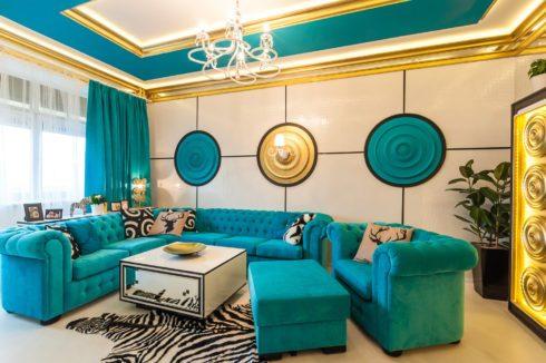 многоуровневый потолок гостиная комната