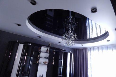 черный многоуровневый с подсветкой потолок