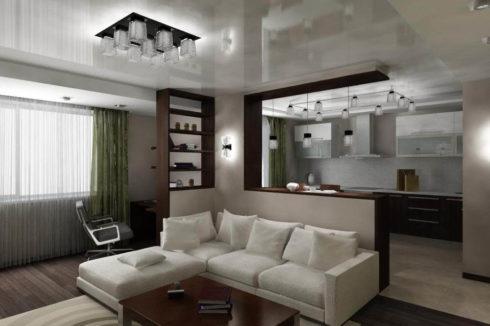 белый глянец гостиная потолок
