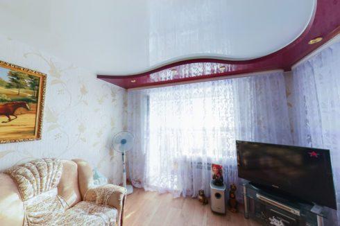белый красный многоуровневый глянцевый гостиная