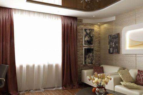коричневый потолок глянец многоуровневый