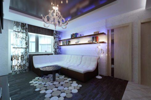 гостиная черный многоуровневый потолок