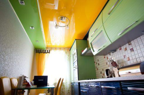 многоуровневый глянец кухня желтый и зеленый