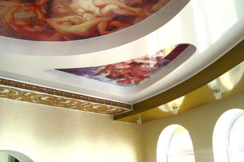 фотопечать многоуровневый потолок гостиная