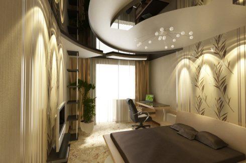 черный глянец многоуровневый спальня