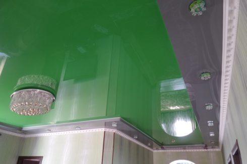 многоуровневый зеленый и серый глянец