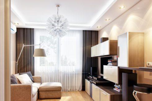 Белый потолок в комнате натяжной подсветка