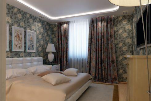 комната с цветочными обоями