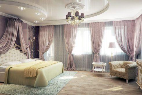 белый многоуровневый натяжной в спальне
