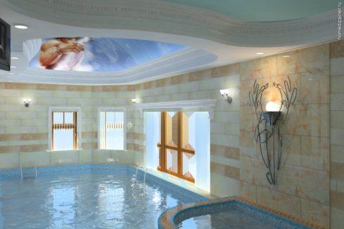 бассейн с фреской и окнами