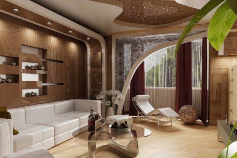 коричневый резаный потолок