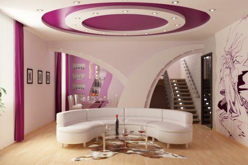 красно-пурпурный потолок натяжной