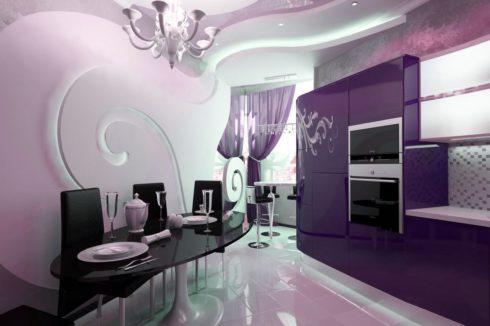 светлый розовый потолок на кухне