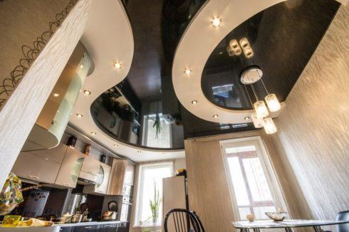 черный многоуровневый кухня глянец