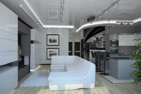 белый глянцевый потолок в комнате