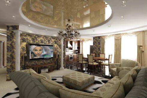 песочный круглый потолок в гостиной