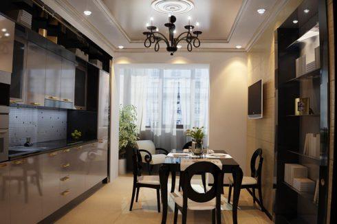 потолок тусклого цвета на кухне