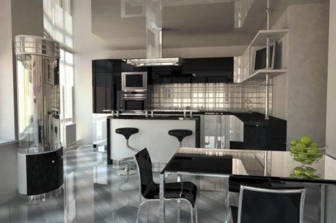 Серый глянцевый потолок на кухне