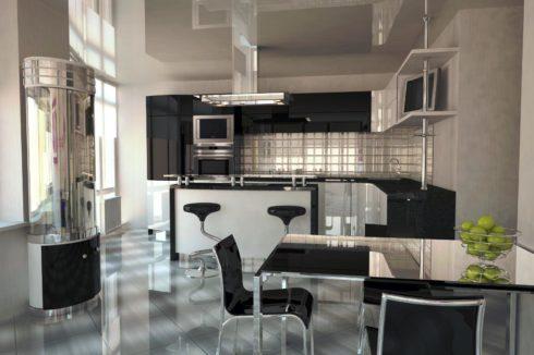 бежевый потолок на кухне
