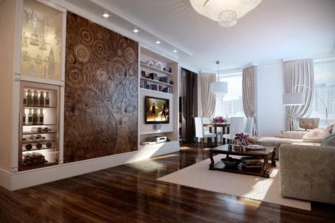 Белая и коричневая комната