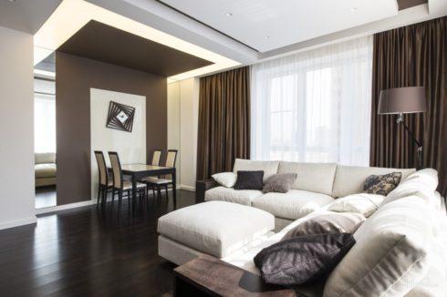 многоуровневый потолок белый коричневый