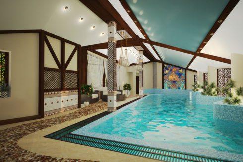 бассейн с голубой крышей
