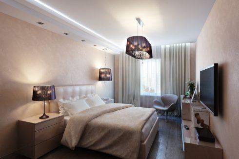 белый потолок с подсветкой в комнате