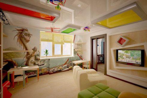 детский многоуровневый натяжной потолок