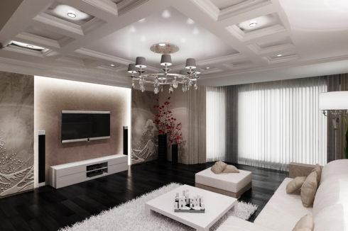 белый комбинированный натяжной потолок