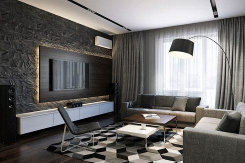 комната с высокой лампой