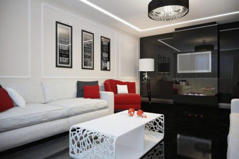 комната в белом, черном, красном цвете