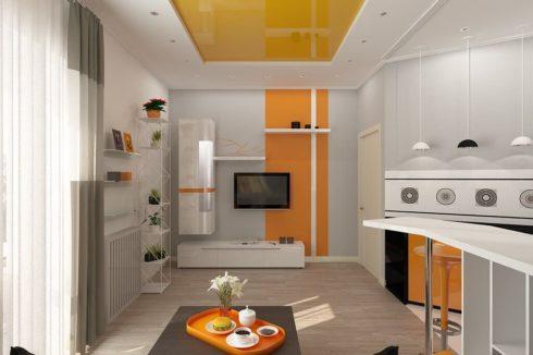 желтый с подсветкой кухня