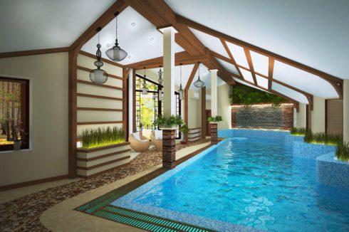 бассейн с белой крышей
