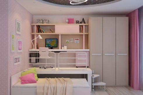 Розовая комната с космическим потолком