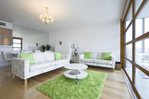 Комната бело-зеленая