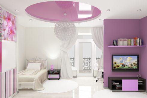 многоуровневый потолок розовый глянец
