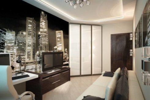 белый натяжной гостиная