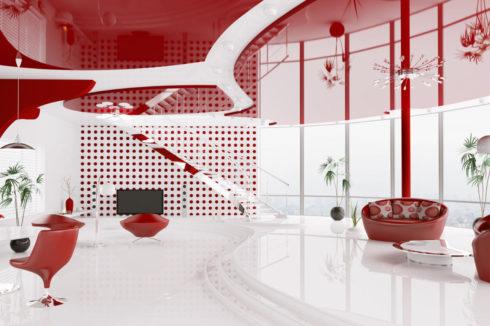 красный глянцевый потолок в квартире