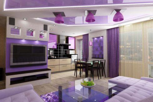 светло-розовый натяжной потолок в квартире